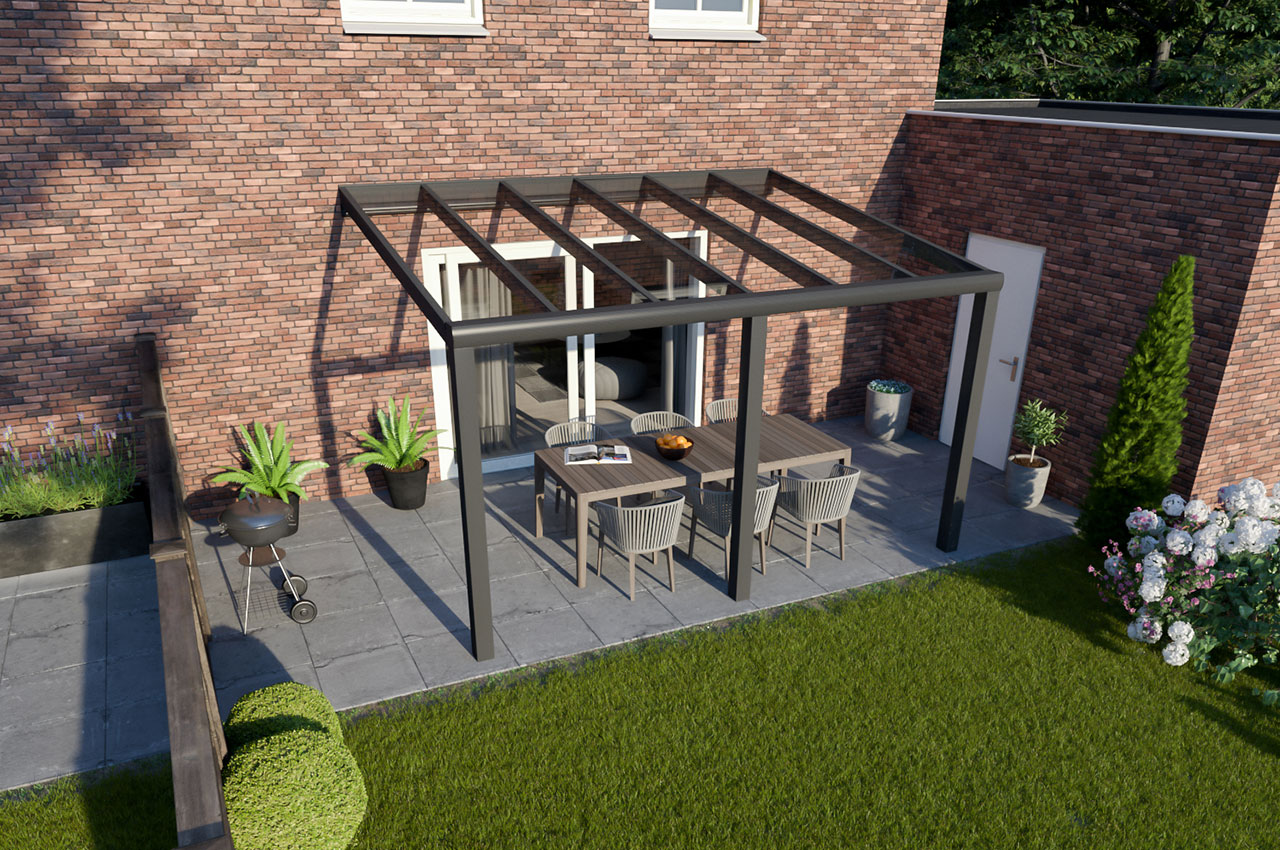 Greenline veranda glas Antraciet Design 4000 mm 3300 mm