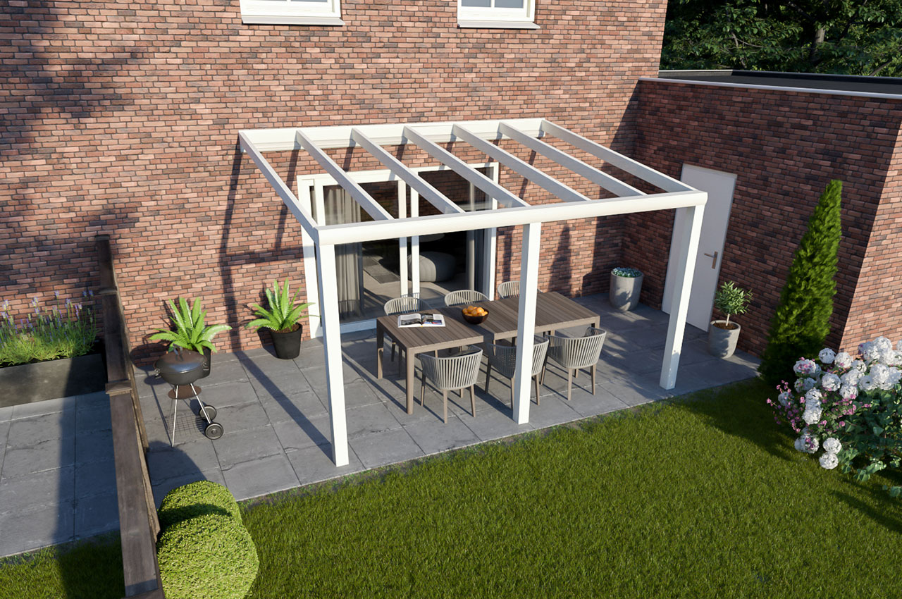 Greenline veranda glas RAL9010 Design 4000 mm 3300 mm