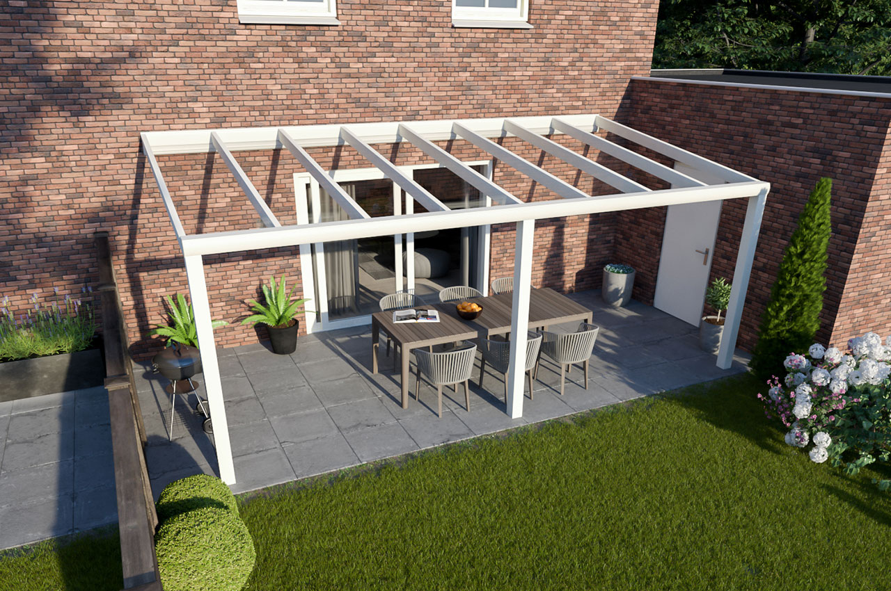 Greenline veranda glas RAL9010 Design 6000 mm 2500 mm