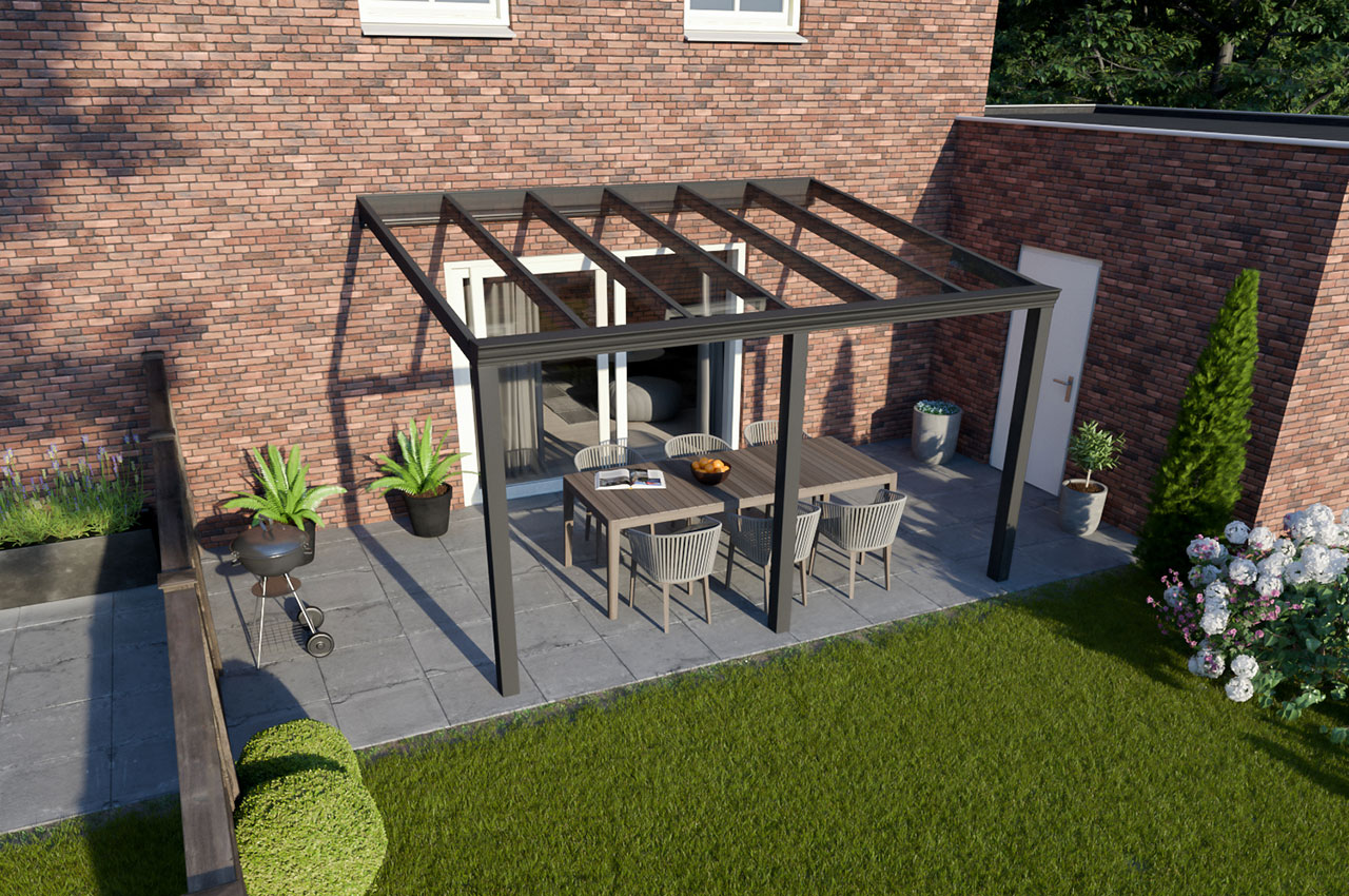 Greenline veranda glas Antraciet Klassiek 4000 mm 3300 mm