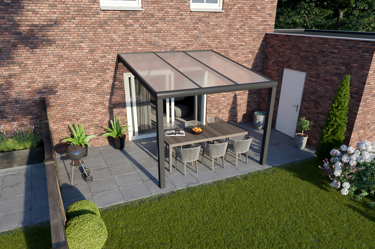 Greenline veranda polycarbonaat Antraciet Design 3000 mm 2500 mm