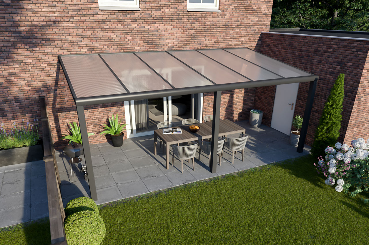 Greenline veranda polycarbonaat Antraciet Design 6000 mm 4000 mm