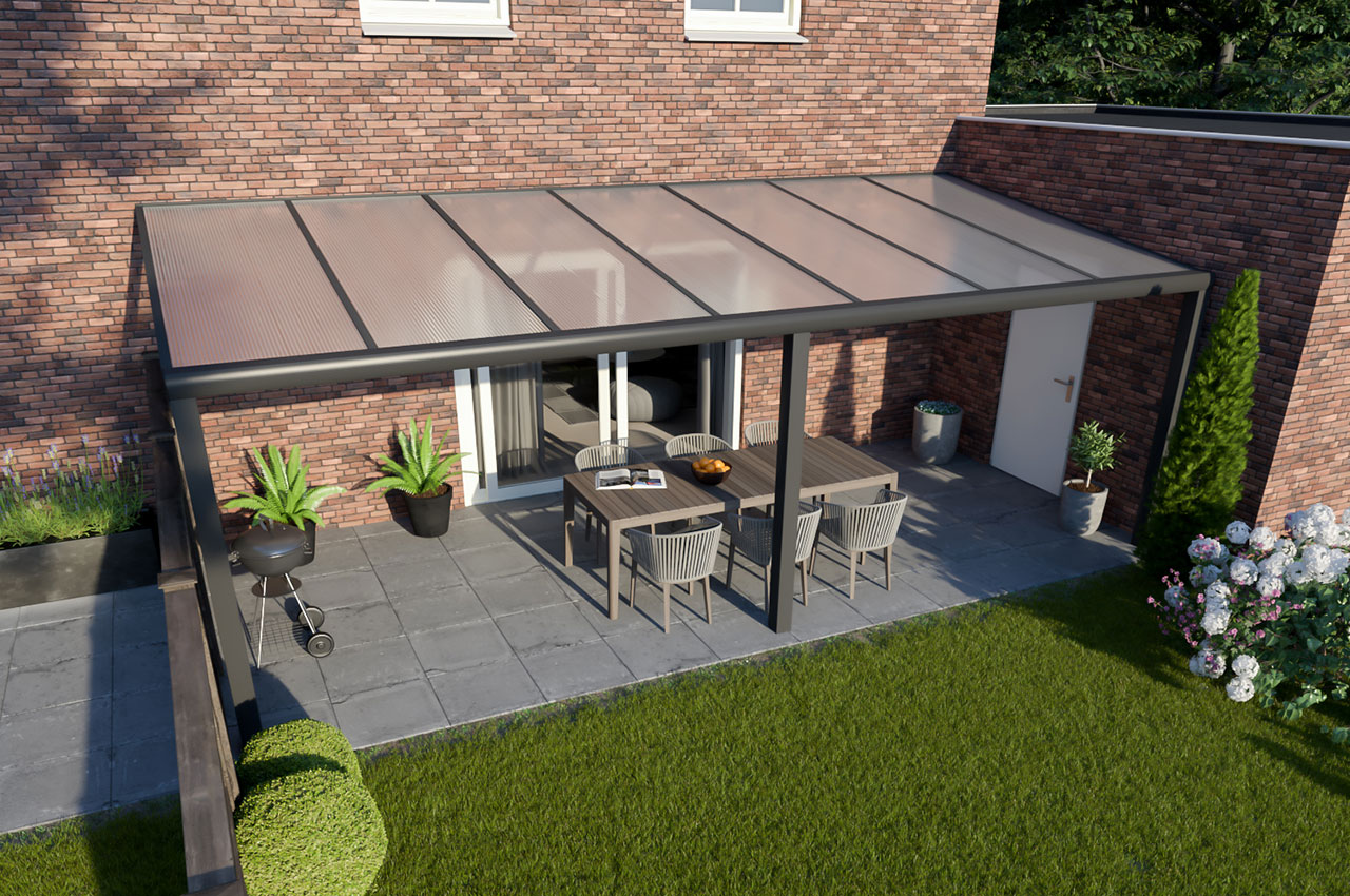 Greenline veranda polycarbonaat Antraciet Design 7000 mm 3500 mm